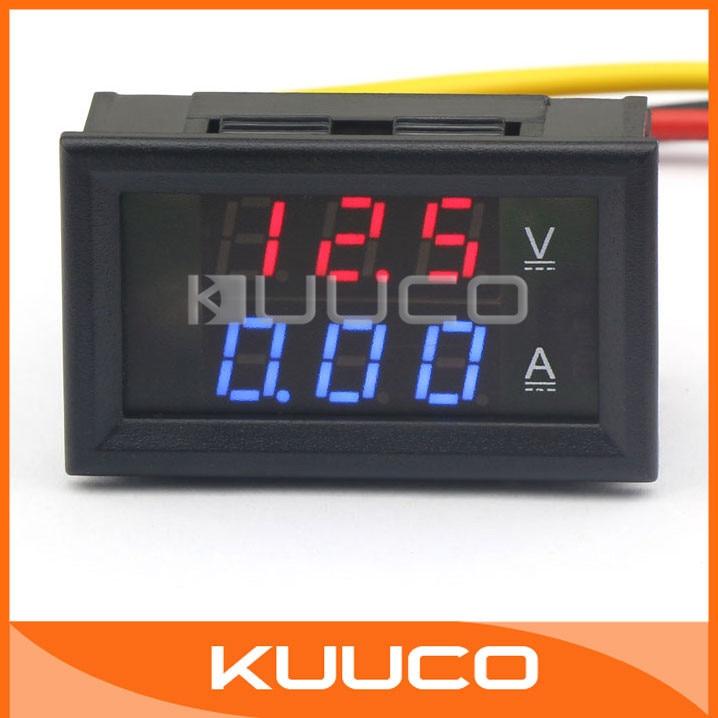 DC 100V 100A Voltmètre Ampèremètre Bleu+Rouge LED Digital Volt Amp Jauge IH