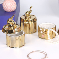Scandinavian Ceramic Jewelry Jar Plating Process Golden Storage Box with Cute Unicorn Lid Ring Necklace Bracelet Organizer Can