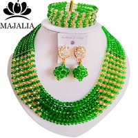 Majalia Fashion Green and Gold champagne Nigerian Wedding African Jewelry Set Crystal Necklace Bride Jewelry Sets 6CF007