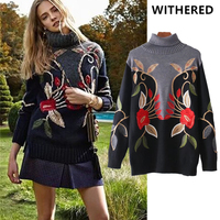 Withered Bts Winter Sweaters Women High Street Oversize Floral Embroidery Jacquard Weave Turtleneck Christmas Sweater Pullovers