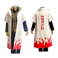 Naruto Cosplay Kostüm naruto 4th Hokage Mantel Robe Weiß Cape Staub Mantel Unisex Vierte Hokage Namikaze Minato Uniform Mantel