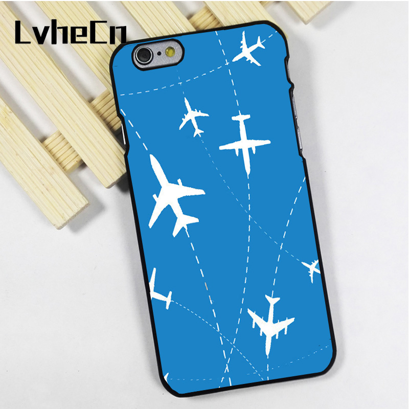 LvheCn phone case cover fit for iPhone 4 4s 5 5s 5c SE 6 6s 7 8 plus X ipod touch 4 5 6 back skins Airplane Routes and Stars