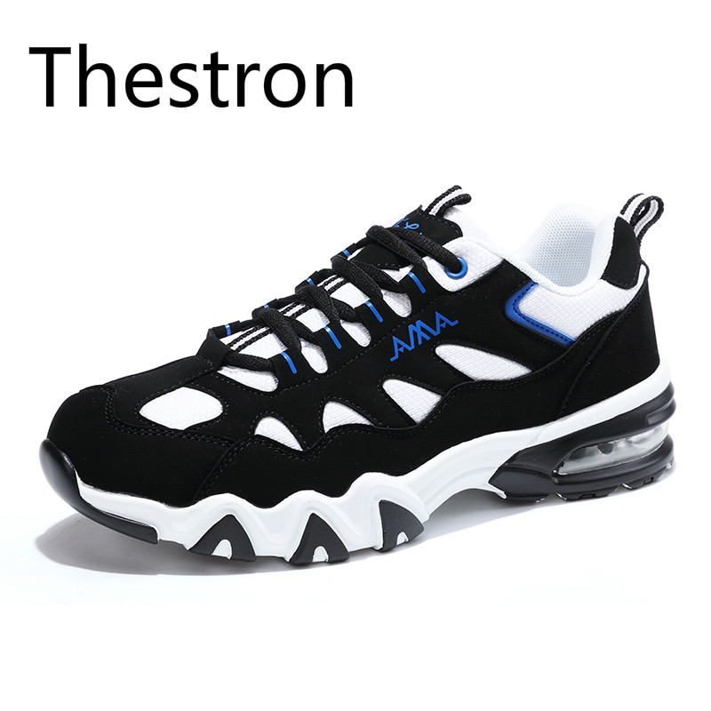Thestron Men Running Shoes Sport Shoes Men Air Black Blue Wearable Athletic Shoes Good Quality Outdoor Walking Comfort sneakers