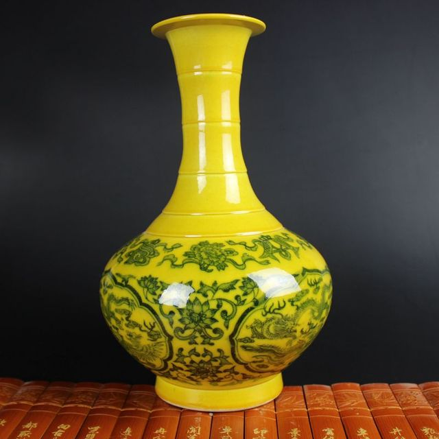 Exquisite Yellow Antique Porcelain Vase Have Beautiful Decorative