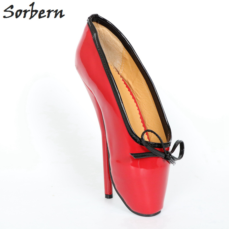 Sorbern Women Ballet Thin Heel Pumps Shoes Plus Size Bow Real Image Ladies Gay Unisex Dance Pump Real Image Large Size 36-46