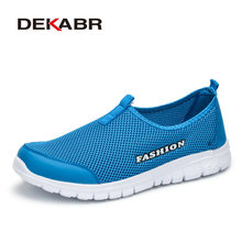 DEKABR Fashion Summer Style Shoes Men Casual Mesh Breathable Shoes Lightweight Comfortable Slip-on Men Shoes Plus Size 34-46