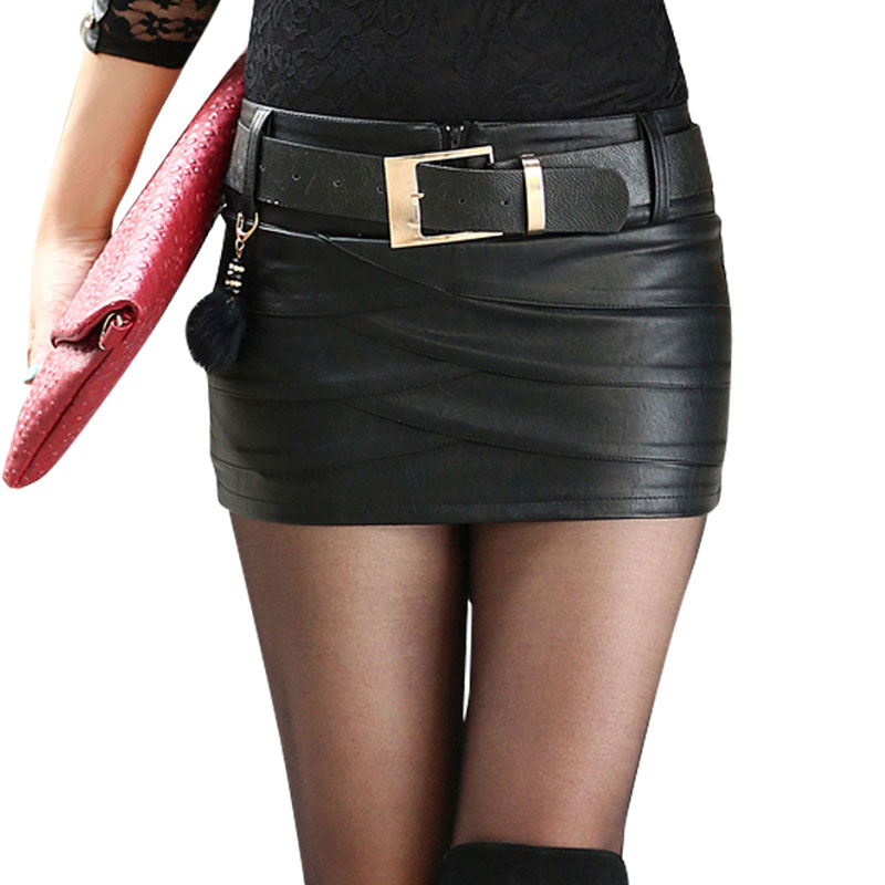 2018New Women's Designer Sexy Black PU Leather Skirt Boot Short Leather Skirt Bust Skirt PU Culottes With Belt