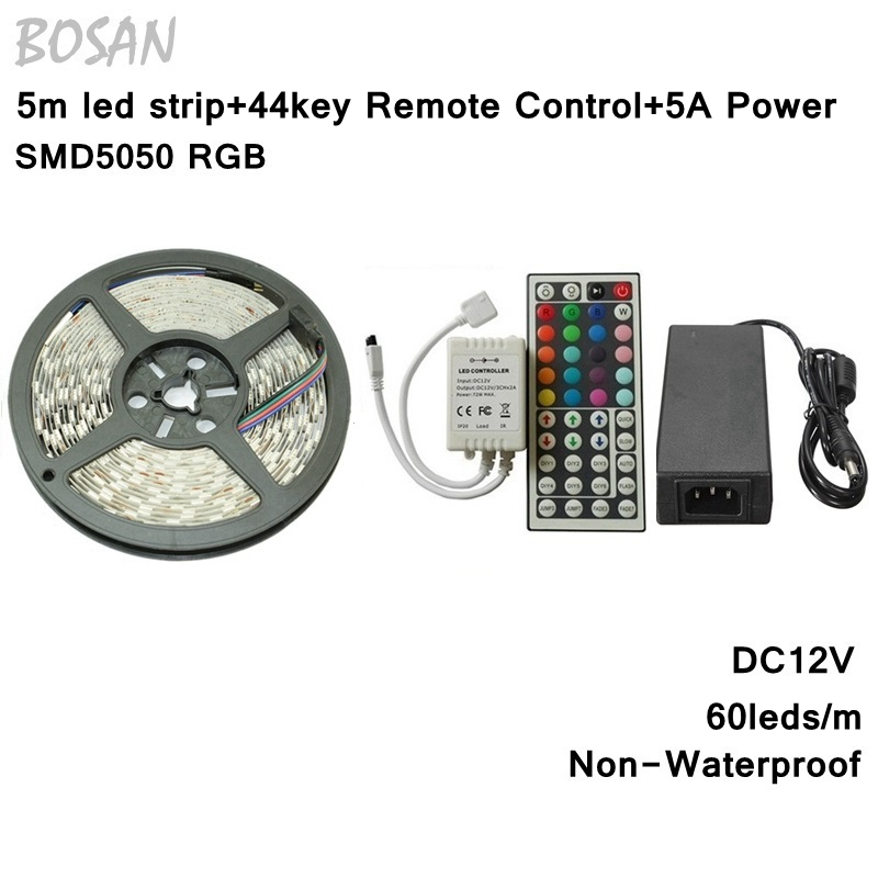 RGB LED Strip 5M 60Leds/m 5050 SMD Flexible Light LED Tape Party Decoration Lamps DC12V 5A Power Adapter With 44key Remote rgb led strip smd 5050 rgb 5m diode tape with 20 keys music ir remote controller 12v 3a power adapter flexible decoration light