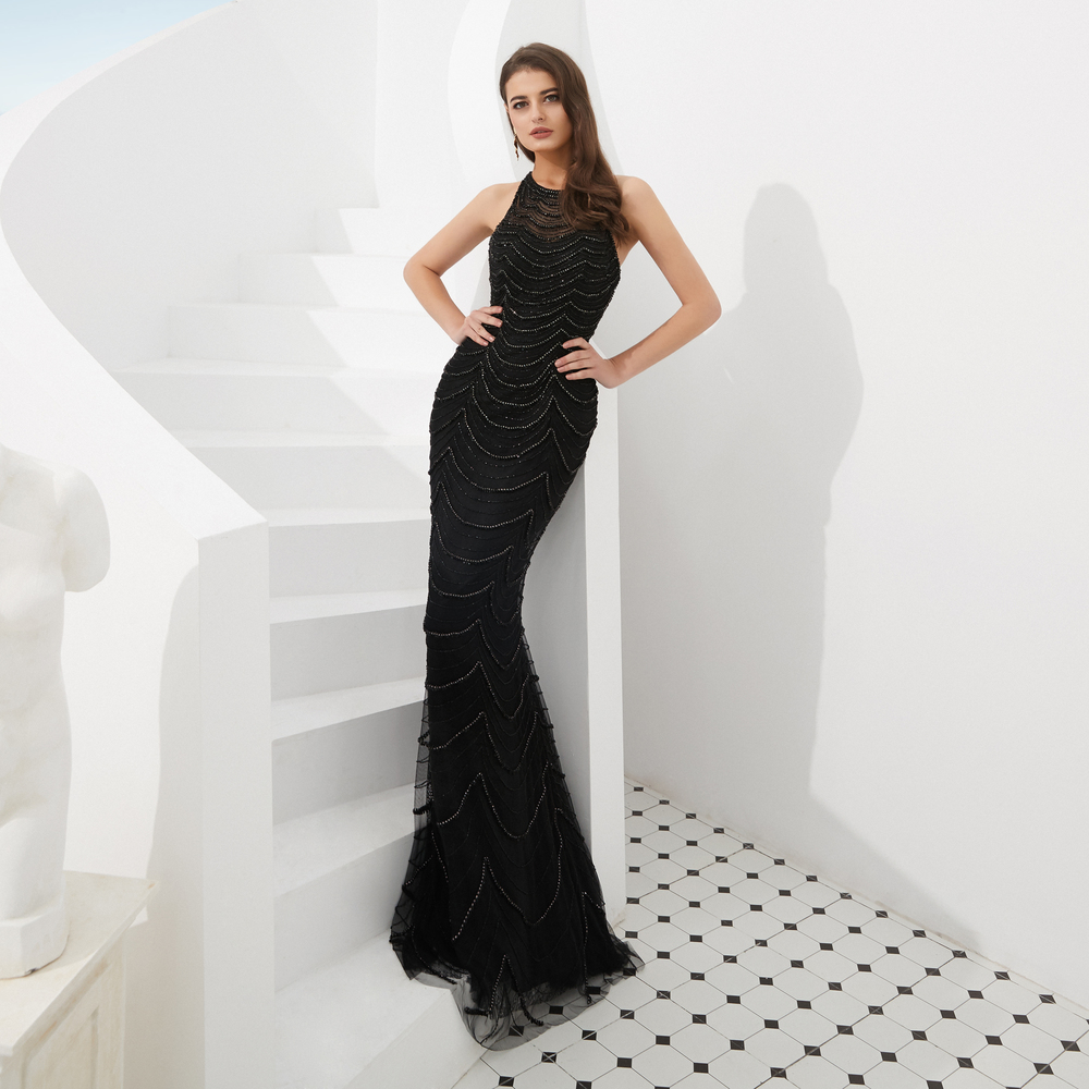 Robe De Soiree Black Dubai New Luxury Sexy Sleeveless Evening Dresses  Mermaid Diamond Beading Mermaid Evening cf4c8b7475b5