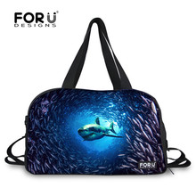 FORUDESIGNS Blue Sea Dolphin Shark Gym Bags Funny Women Luggage Travel Bags Large Capacity Duffel Tote Canvas Waterproof Handbag