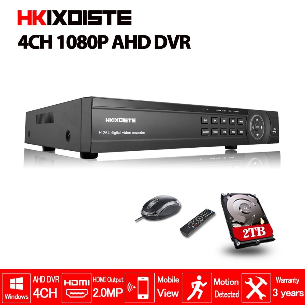 HKIXDISTE Главная безопасности CCTV AHD DVR 4CH HD 1080 P видеомагнитофон H.264 камеры видеонаблюдения 4 канала NVR Multi- язык почтовое аварийное
