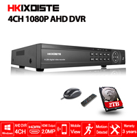 HKIXDISTE домашняя охранная система видеонаблюдения аналоговая камера высокого разрешения цифровой видеорегистратор 4CH HD 1080 P видео Регистрато...