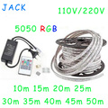 Hot sale 10M - 50M 110V/220V High Voltage SMD 5050 RGB Led Strips Lights Waterproof + IR Remote Control + Power Supply