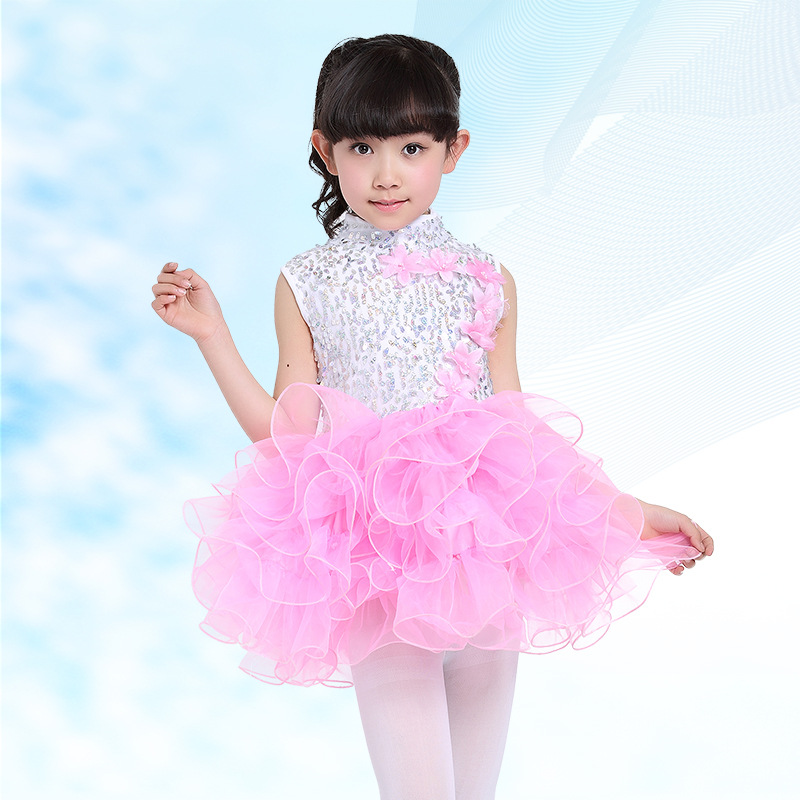Free Shipping 2017 Sequin Pink Blue Ballet Tutu Dress for Children Girls Stage Show Kids Host Clothes Chorus Dance Costumes