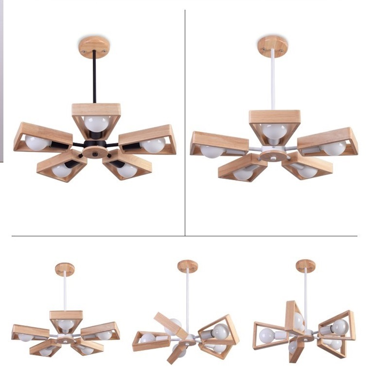 Modern LED Chandelier Creative Simple 3 6 8 Heads Solid Wood Lamp Ceiling chandelier Lighting Home