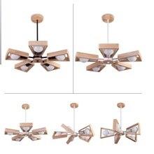 現代の Led シャンデリアクリエイティブシンプルな 3/6/8 ヘッド木製天井シャンデリア照明家庭の照明の寝室ダイニングルーム