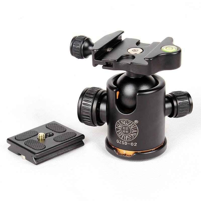 QZSD Q-02 Professionnel 360 Degrés Panoramique Pivotant Caméra Trépied Rotule avec Quick Release Plate pour DSLR Caméras