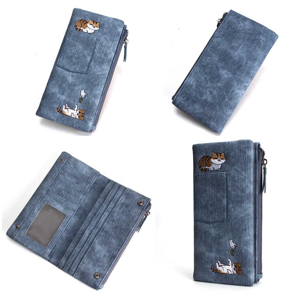 5 colores lindo gato Jeans estilo mujer cartera larga cremallera chica alta calidad Pu cuero teléfono caso mujer tarjetero cartera