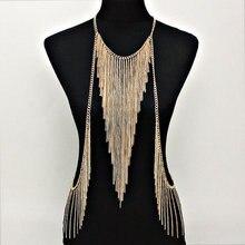 Atemberaubende Sexy Körper Bauch, taille, frauen Dame Quaste Halskette Gold Kette Halskette Partei Abendkleid Decor BY53
