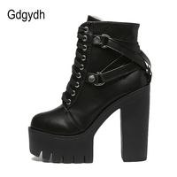 Gdgydh Fashion Black Boots Women Heel Spring Autumn Lace-up Soft Leather Platform Shoes Woman Party Ankle Boots High Heels 1