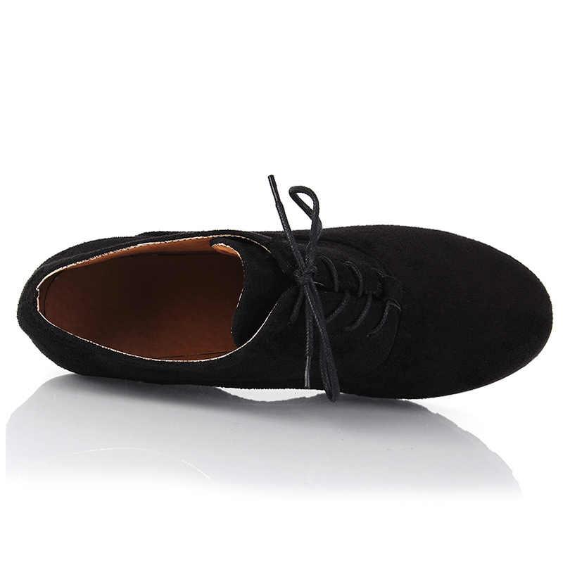 2017 Sonbahar Takozlar Moda Akın kadın Yüksek topuklu Platformu Takozlar yarım çizmeler Lace Up Yüksek Topuklu Takozlar Ayakkabı kadınlar için