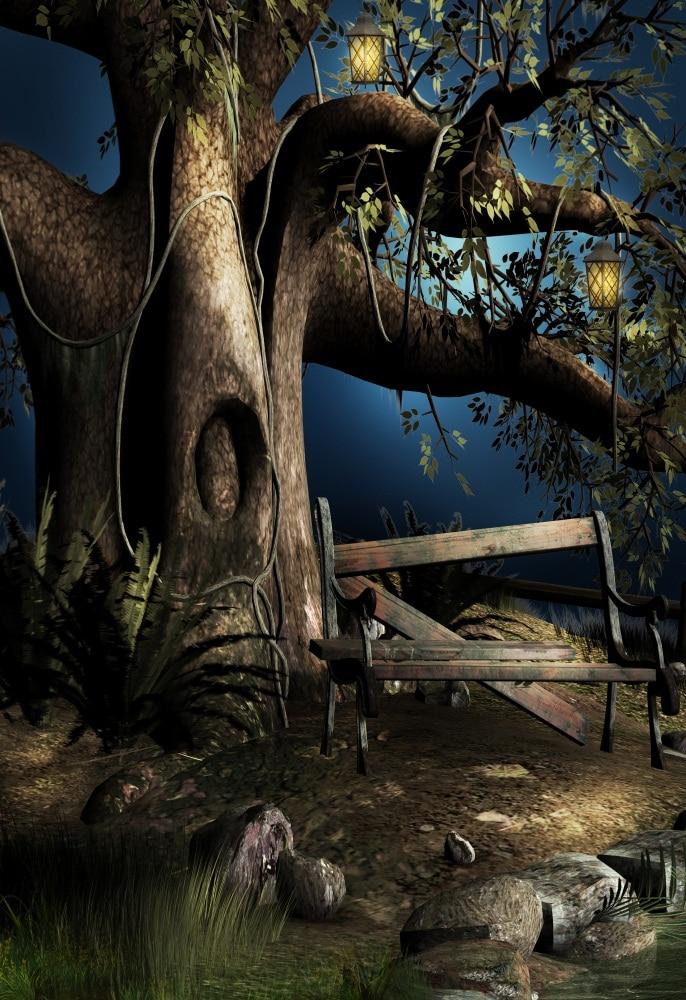Laeacco сказочной Старое дерево лоза деревянная скамья свет фотографическое Фоны Индивидуальные фотографии фонов для фотостудии