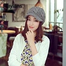Raylans moda coreana caliente del invierno mujeres crochet knit esquí Gorras  de béisbol lana enarboló el casquillo del sombrero d53d67a3216