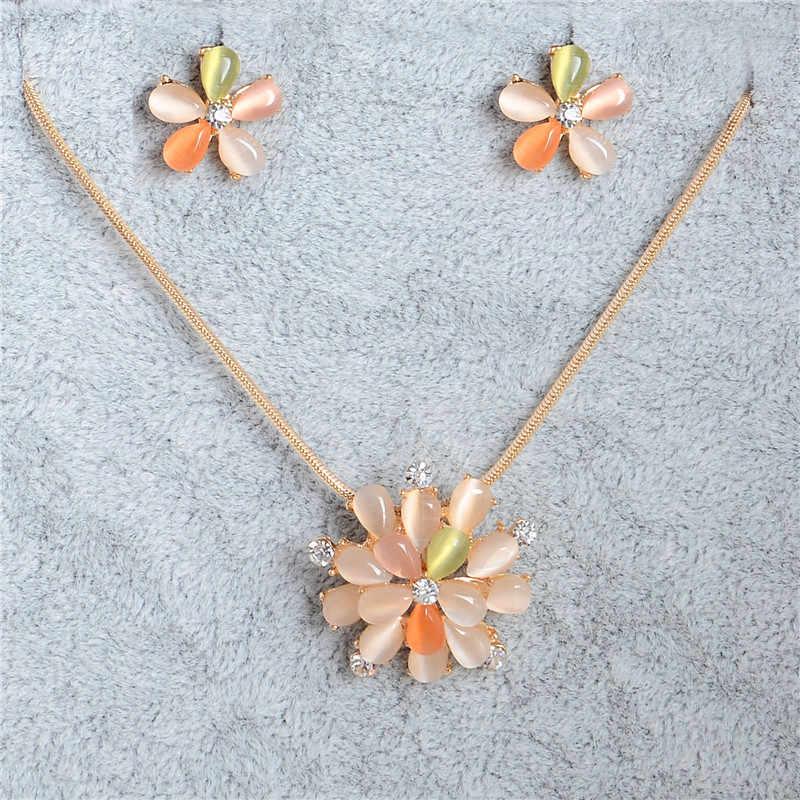 Hesiod ดอกไม้ที่มีสีสันคริสตัลชุดเครื่องประดับโอปอลสีทองงานแต่งงานงานแต่งงาน Bridal ชุดเครื่องประดับจี้ชุดสร้อยคอต่างหู