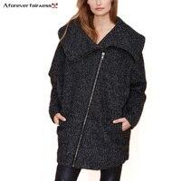 Bir Sonsuza Kış Coat Kadınlar Büyük yaka Bırak Omuz Yün ceket Diyagonal Fermuar Sıcak Gevşek Rahat Ceket Ceket Kış Coat AFF591