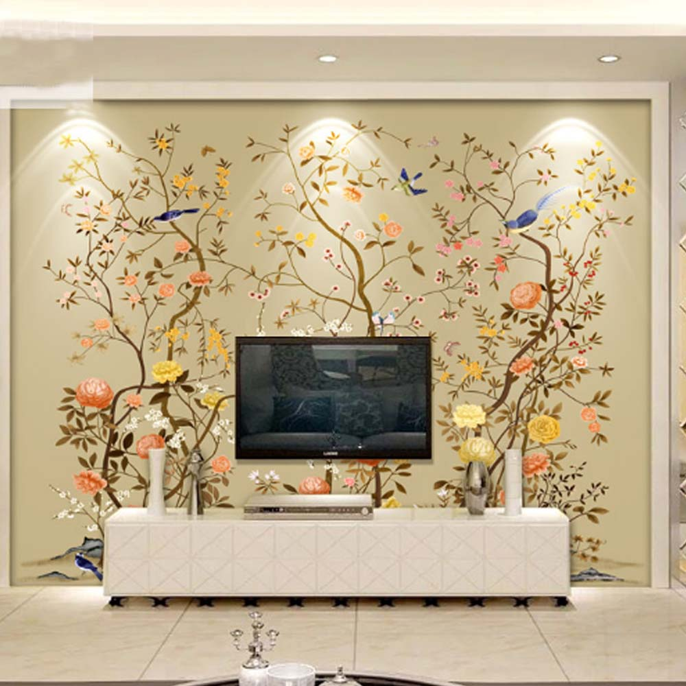 3d wallpaper birds flower photo mural landscape modern - What size tv to get for living room ...