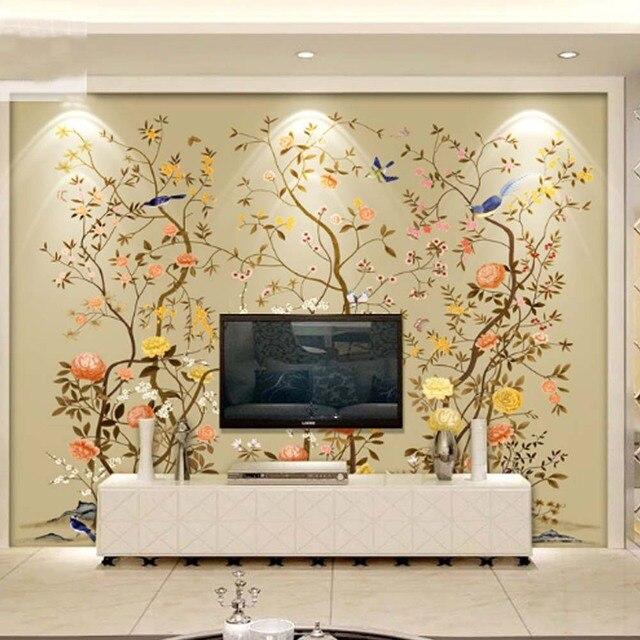 Carta da parati 3d uccelli fiore foto mural paesaggio for Carta da parati per soggiorno moderno
