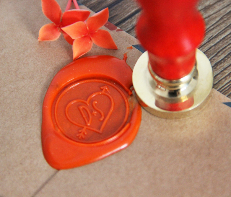 Personalized Wax Seal Stamp Wedding Custom Initials With Heart Arrow Wax Stamp