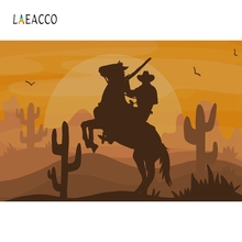Laeacco Sunset House US West Cowboy Birthday Party Photography Background Customized Photographic Backdrops For Photo Studio