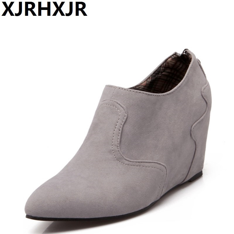 XJRHXJR 2018 Fashion Zipper Wedges Heel Women Ankle Boots All Match Pointed Toe Suede PU Leather Wome Boots Black Grey nemaone 2018 women ankle boots square high heel pointed toe zipper fashion all match spring and autumn ladies boots
