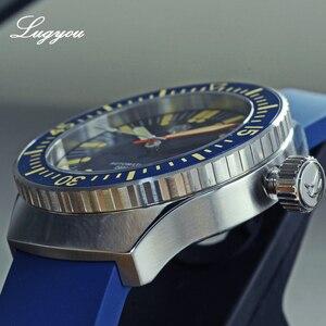 Image 4 - Lugyou San Martin Do Vintage Homens Relógio de Mergulho Mecânico Automático 20 ATM Bisel Rotativo Sunray Blue Rubber Strap Sapphire SLN C3