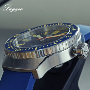 Image 4 - Lugyou San Martin Vintage อัตโนมัติดำน้ำนาฬิกาผู้ชาย 20 ATM หมุน Bezel Sunray สีฟ้าสายยาง Sapphire SLN C3