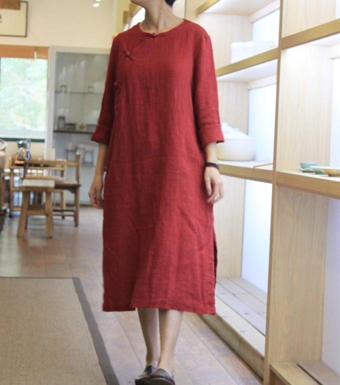 De Et Lin Lâche Vêtements Femmes 2016 L'arrivée 18061 Style Rouge Chinois 8 Coton Nouveaux Robe UfwZ5Zpq