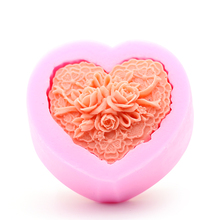 Handmade Heart Shaped Soap Mold 3D Rose Forms Silicone Fondant Cake DIY Tools Mould