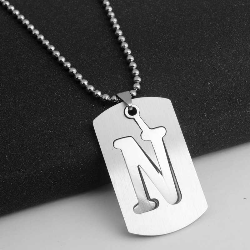 drop shipping fashion Alphabet Letters A-Z Stainless Steel necklace English Letter Necklace Beads Chain Necklace jewelery gift