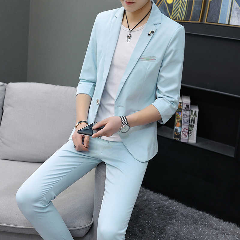 customSummer half-sleeved men's suit set men's thin seven-point sleeves handsome slimming small suit