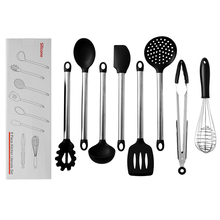 9PCS Stainless Steel Food Grade Silicone Cooking Spoon Soup Ladle-Egg Spatula Turner kitchen Tools Cooking Utensil Set