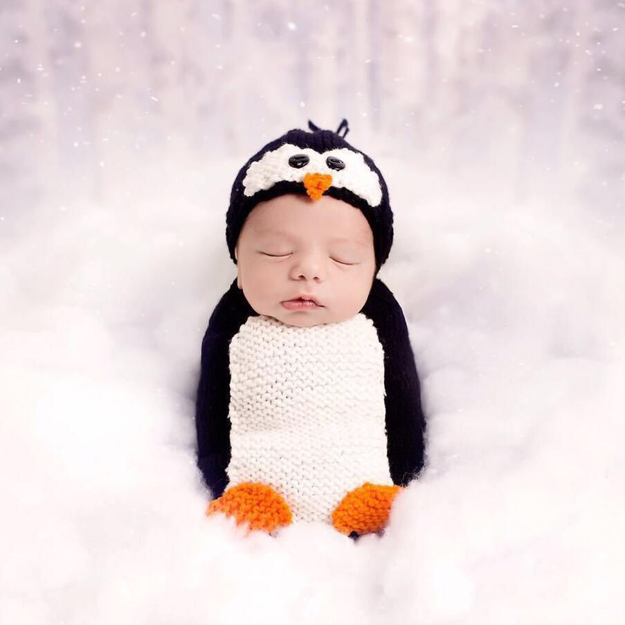 Newborn Photography Props Baby Costume Cotton Clothes Penguin Design Crochet Baby Picture Outfit 0 6M Infant Crochet Knit Wear