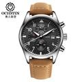 OCHSTIN Brand New Fashion Casual Man Male Chronograph Clock Military Army Sport Leater Strap Luxury Wrist Quartz Watch GQ043B