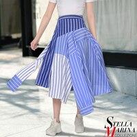 2017 Women Fashion Blue Asymmetrical Skirt With Sleeves Design Elastic Waist Knee Length Trending Hit Girls