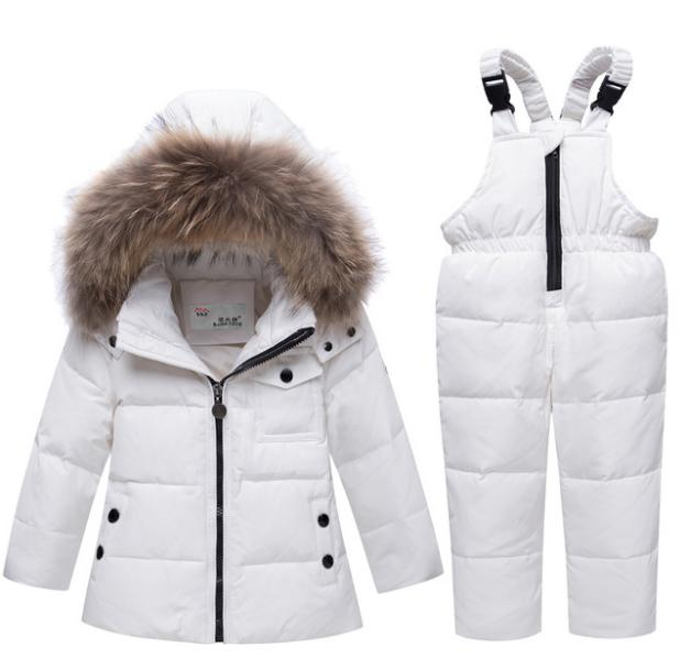 New childrens down suit set for boys and girls winter thickening strap pants two piece 2018 winter coat big hair collar clothesNew childrens down suit set for boys and girls winter thickening strap pants two piece 2018 winter coat big hair collar clothes