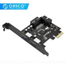 ORICO Настольный 2 порта USB3.0 PCI Express Card 5 Гбит/с высокоскоростная карта расширения добавить на карты для ноутбука-(PVU3-2O2I-V1
