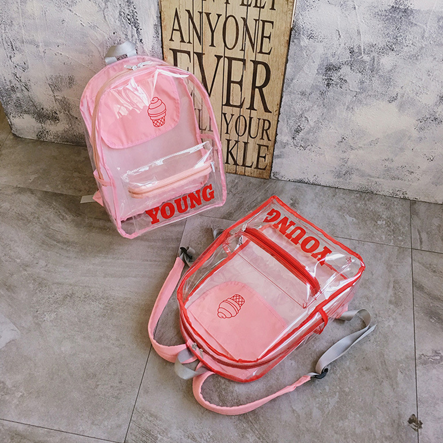 Clear Transparent Women Backpack PVC Jelly Cute Letter Student Schoolbags High Capacity Teenage Girls Travel Backpack 2018 NewClear Transparent Women Backpack PVC Jelly Cute Letter Student Schoolbags High Capacity Teenage Girls Travel Backpack 2018 New