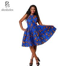Shenbolen Summer Fashion African Dresses For Women Sexy Flower Dress Ankara Cotton Print Party