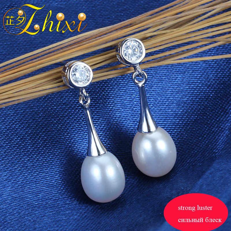 f306b0c0b91 ... [ZHIXI]Pearl Earrings For Women Fine Jewelry 8-9mm Natural Freshwater  Pearl Drop ...