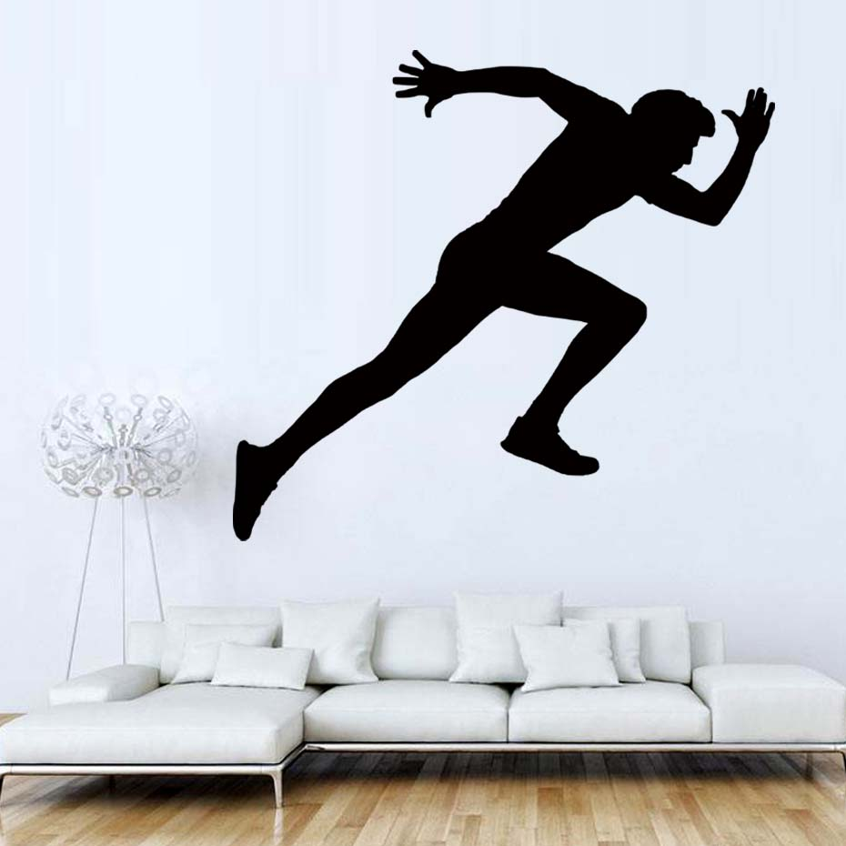 Running Man Fitness Pose Decal Vinyl Wall Sticker For Gym